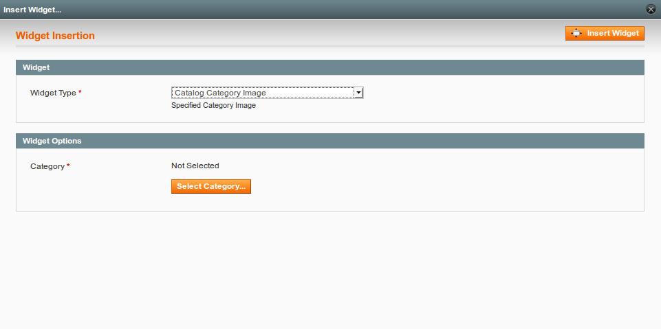 Widget screen in admin panel